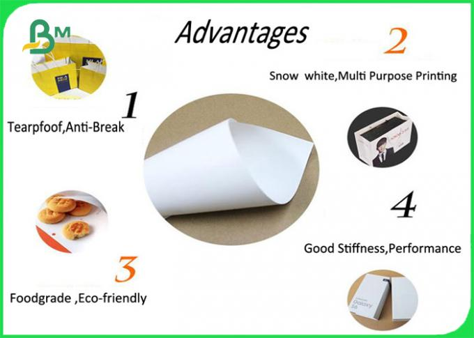 High Whiteness Kraft Liner Paper Roll / One Side Coated Paper For Shopping Bags