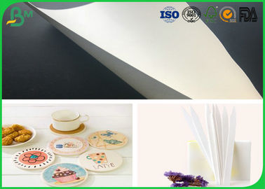 China 0.8mm 1mm 1.2mm White Cardboard Paper Roll Drinking Absorbent Paper For Cup Mat supplier