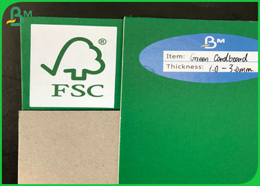 China FSC Certificate 1mm To 3mm Recycled Green / Grey Cardboard For Packing supplier