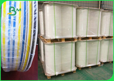 China FDA Approved Ink Striped Straw Paper 100% Chemical Free Recyclable 60gsm 120gsm supplier