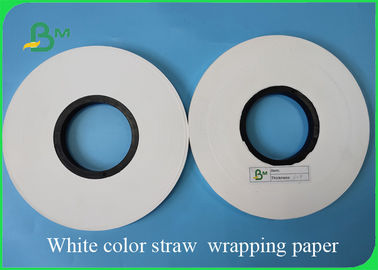 China 28GSM White Color Straw Wrapping Paper FDA & FSC Width 22mm / 25mm / 28mm supplier
