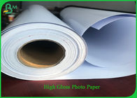 One Side Satin PE Coated Paper , 24 Inch 30 Length 190g RC Photo Roll Paper For Pigment Ink