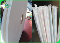 Food Safe Compostable 28gsm White Straw Pipe Wrapping Paper 35mm Rolls