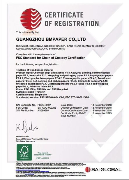 China GUANGZHOU BMPAPER CO.,LTD Certification